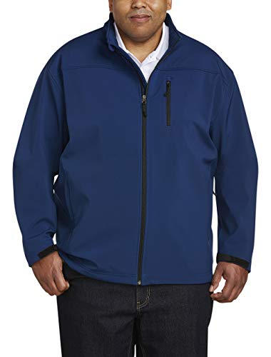 Amazon Essentials Men's Big & Tall Water-Resistant Softshell Jacket fit by DXL, Navy, 3X