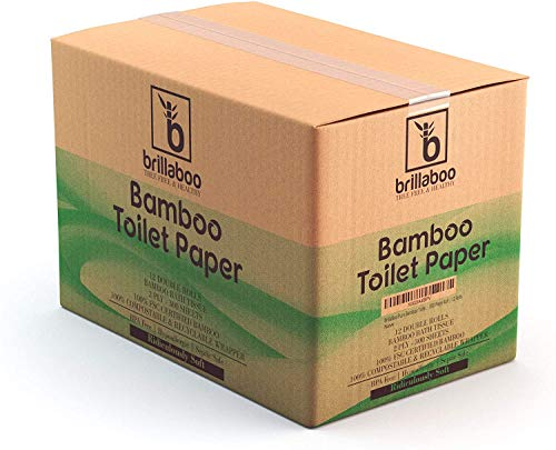 BrillaBoo Organic Bamboo Toilet Paper | 100% Tree Free and Healthy | 2 Ply, 300 Sheet Roll | Extra Long Rolls Hypoallergenic For Sensitive Skin | Plastic and Lint Free | Septic Safe…