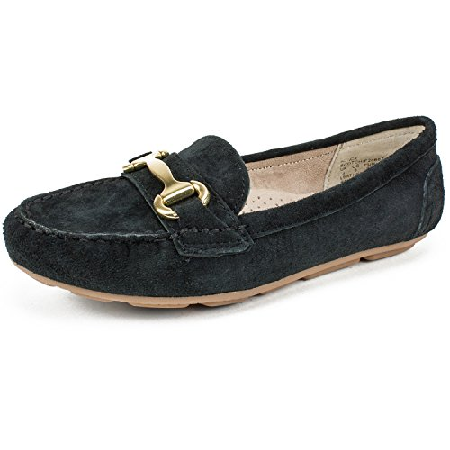 WHITE MOUNTAIN Womens Scotch Leather Closed Toe Loafers, Black, Size 5.5