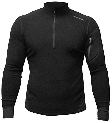 Hot Chillys Men's Lamont Zip-T Base Layer Top, Black/Black, X-Large