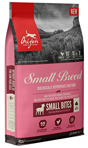 ORIJEN Dry Dog Food for Small Breed Dogs, Grain Free, High Protein, Freeze Dried Liver Infused Kibble, 10lb
