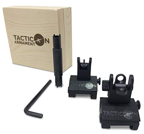 Flip Up Iron Sights for Rifle Includes Front Sight Adjustment Tool   Rapid Transition Backup Front and Rear Iron Sight BUIS Set Picatinny Rail and Weaver Rail