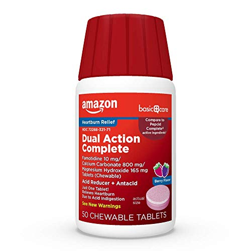 Amazon Basic Care Dual Action Complete, Chewable Acid Reducer & Antacid Tablets, Flavor; Helps to relieve heartburn due to acid indigestion, Pink, Berry, 50 Count (Pack of 1)