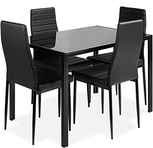 ALI VIRGO 5-Piece Kitchen Dining Table Set for Dining Room, 4 Faux Leather Metal Frame Chairs, Dinette, Compact Space w/Glass Tabletop