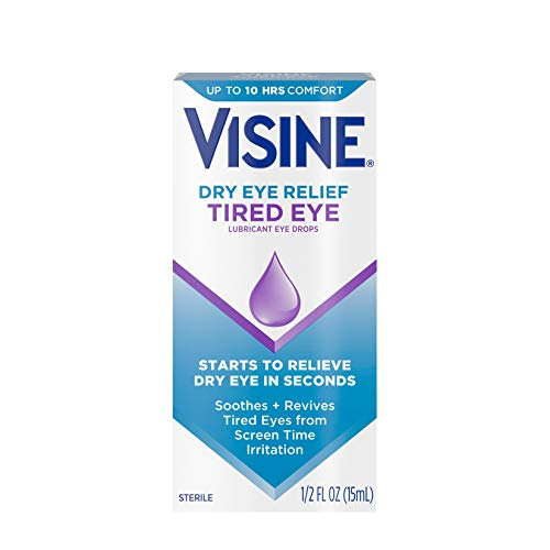 Visine Dry Eye Relief Tired Eye Lubricant Eye Drops, Moisturizing & Soothing Sterile Drops for Irritated, Dry & Tired Eyes Due to Screen Time Irritation, Polyethylene Glycol, 0.5 fl. Oz (Pack of 3)