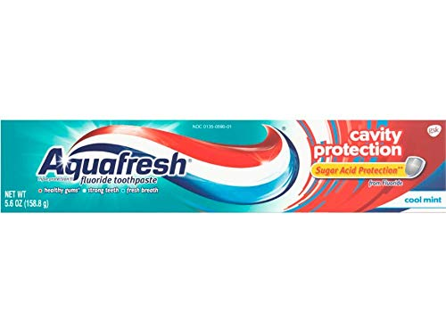 Aquafresh Cavity Protection Fluoride Toothpaste, Cool Mint, for healthy gums, strong teeth & fresh breath, 5.6 ounce