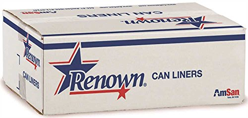 Renown REN14540-CA Trash Can Liners, 40' x 48', 45 gal, 16 mil, Natural (Roll of 25) (Pack of 10)