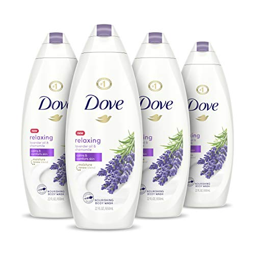 Dove Body Wash for Softer and Smoother Skin After Just One Use Lavender Oil and Chamomile Stress Relieving and Calming 22 oz, 4 Count
