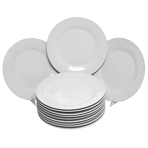 10 Strawberry Street Catering Pack 10.5', Set of 12 Dinner Plates, White