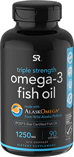 Omega-3 Wild Alaska Fish Oil (1250mg per Capsule) with Triglyceride EPA & DHA   Heart, Brain & Joint Support   IFOS 5 Star Certified, Non-GMO & Gluten Free (90 Softgels)