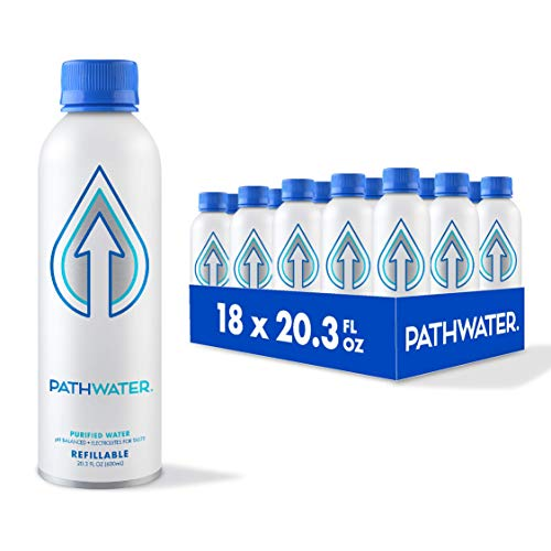PATH Still Bottled Water, 20.3 fl oz pH Balanced Drinking Water in a Reusable Water Bottle, Ultra-Purified Water with Electrolytes, Refillable Smart Water Bottle, Purified Electrolyte Water (Pack of 18)