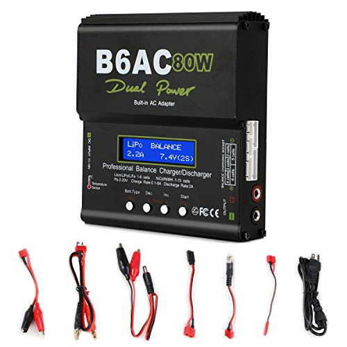 Lipo Charger,Battery Charger Balance Charger Discharger with Power Supply for LiPo/Li-ion/Life Battery (1-6S),NiMH/NiCd (1-15S),PB (2-24V),Smart Battery (Lipo Battery Charger)