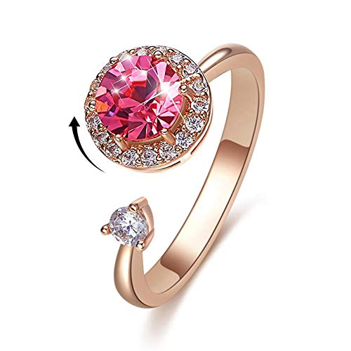 Womens Eternity Ring Cubic Zirconia Anniversary Wedding Engagement Band Ring Rose Gold Plated Ring Mothers Day Jewelry (Womens Ring Pink)