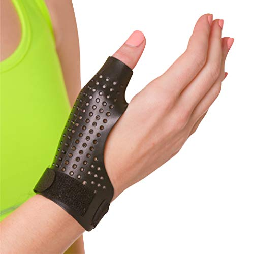 BraceAbility Hard Plastic Thumb Splint | Arthritis Treatment Brace to Immobilize & Stabilize CMC, Basal and MCP Joints for Trigger Thumb, Tendonitis Pain, Sprains (Large Right)