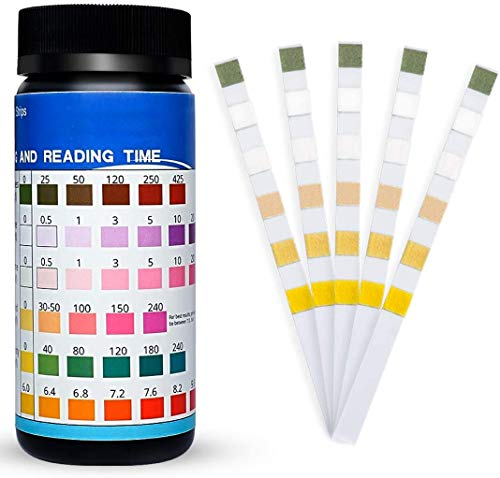 AKARUED Pool Test Strips 100 Count - 6 Ways Pool and Spa Test Strips for Hot Tub Swimming Pool Chemical Testing Kit Tests Chlorine, PH, Chemicals, Bromine and More, Accurate Pool Testing Strip
