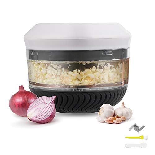 Manual Food Chopper ,Garlic Chopper Mini Fits for Chopping Vegetables,Fruits,Garlic,Onions,Nuts,Pepper,Ginger,Salad Manual Food manual food processor with Spoon & Brush, BPA Free, Dishwasher Safe