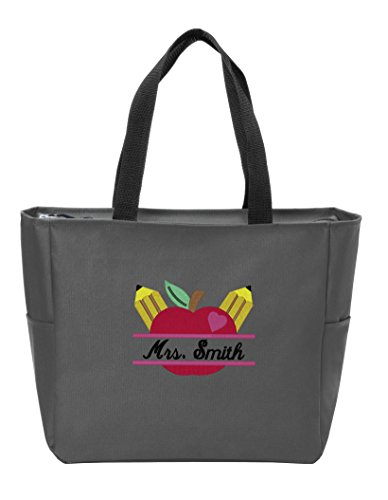 Personalized Canvas Tote Bag with Customizable Teacher's Apple Monogram Shoulder Bag for School Work, Travel and Shopping (Dark Charcoal)