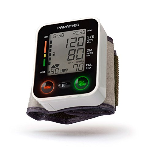 PARAMED Automatic Wrist Blood Pressure Monitor: Blood-Pressure Kit of Bp Cuff + 2AAA and Carrying case - Irregular Heartbeat Detector & 90 Readings Memory Function & Large LCD Display