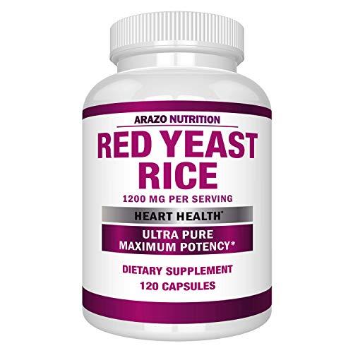Red Yeast Rice Extract 1200 mg – Citrinin Free Supplement – Vegetarian 120 Capsules - Arazo Nutrition