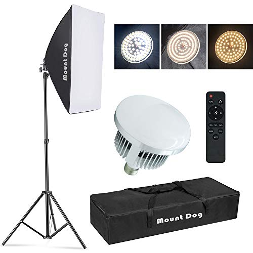 【Upgrade LED】 MOUNTDOG Softbox Lighting Kit, Photography Studio Light with 19.7'X27.5' Reflector and 3 Colors Temperature 45W Bulb with Remote, Professional Photo Studio Equipment for Portrait Video.