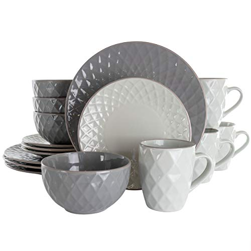 Elama Round Tahitian Stoneware Collection Dinnerware Dish Set, 16 Piece, Slate and Pearl
