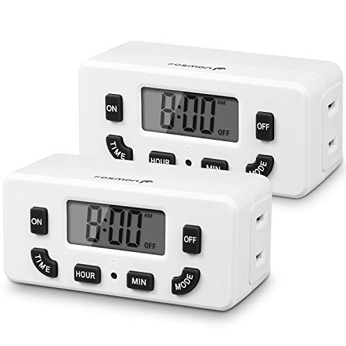 Fosmon 24 Hour Programmable Digital Timer Outlet (2 Pack), ON/Off Program, LCD Display, Mini Indoor Single Plug-in Outlet Timer, 125V 15A for Seasonal Light, Lamp, Heater, Portable Fan, Aquarium