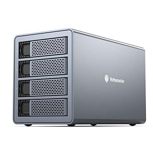 4 Bay Hard Drive Enclosure,Yottamaster Aluminum Alloy 2.5'/3.5' USB3.0 to SATA3.0 External HDD SSD Storage Enclosure,Support 4 x 16 TB Capacity,Ideal for Enterprise-Class Storage Solution[FS4U3]