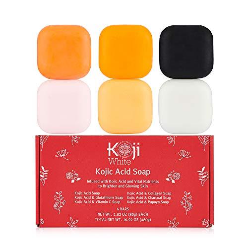 Koji White Skin Brighten & Glowing Soap Bath Women Gift Box Set 6 Bars (Kojic Acid, Papaya, Glutathione, Vitamin C, Collagen, Charcoal) for Hydrating, Cleansing Facial & Body - 2.8 Oz each