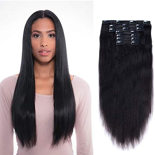 Vanalia 9A Perm Yaky hair extensions clip in human hair Double Wefted Natural Black Remy Human Hair 120 Gram 7 Pieces 18 Clips for African American Black Women Yaki 14 Inch