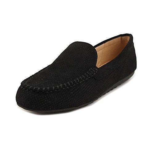 Brinley Co. Womens Comfort Sole Faux Nubuck Laser Cut Loafers Black, 9 Regular US
