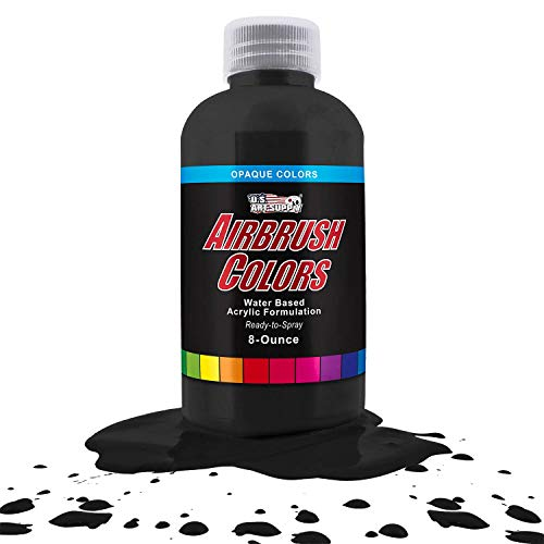 US Art Supply Deep Black Opaque Acrylic Airbrush Paint 8 oz.- Ready to Spray and Also Great Acrylic for Pouring Art