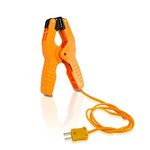 Pipe Clamp Temperature Probe Tool - Type-K Pipe Clamp Adapter Thermocouple Probe for External Meter or Gauge Device Like Digital Multimeters and Clamp Meters, Measures Temperature - Pyle PCTL01