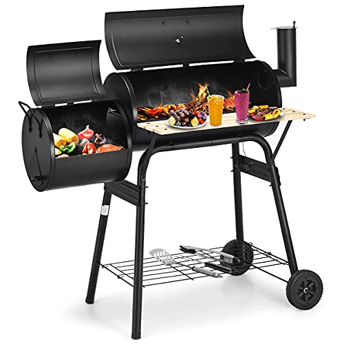 Giantex BBQ Charcoal Grill with Offset Smoker, Thermometer and Adjustable Damper, Meat Cooker Smoker for Backyard Family Gathering and Outdoor Picnic, 2 Moveable Wheels, 2 Shelves and Wooden Handles