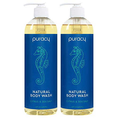 Puracy Natural Body Wash for Men and Women, Citrus & Sea Salt Skin Softening Bath & Shower Gel with Coco Glycinate, 16 Fl Oz (2-Pack)
