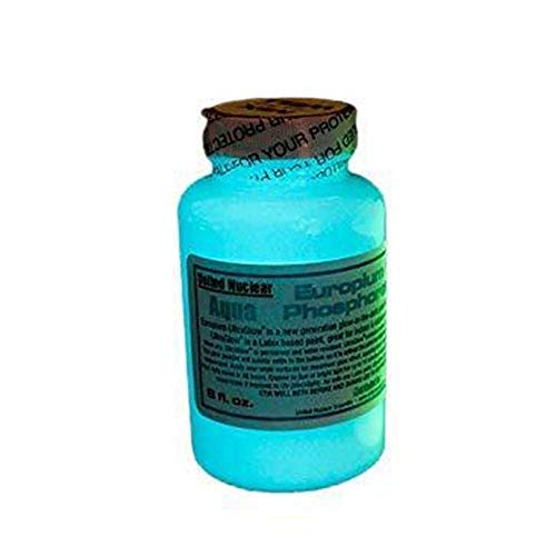 United Nuclear Europium Ultra Glow in The Dark Phosphorescent Paint | Super Bright Waterproof UV Black Light Paint (4 Ounce, Aqua)