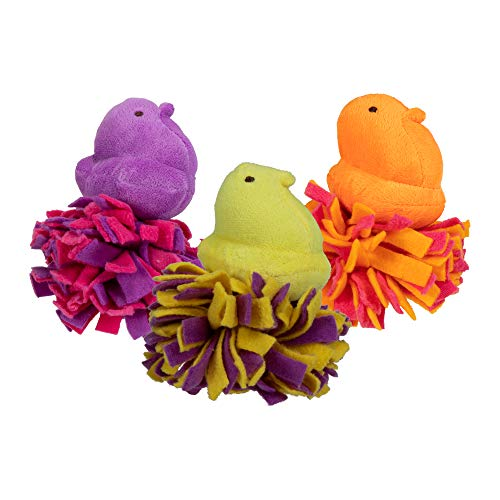 Peeps for Pets Plush Chick Fleece Bottom Toy for Dogs, 3 Count Squeaker Dog Toy | Orange/Pink, Pink/Purple, and Yellow/Purple | Dog Toy is a Fun and Cute Way to Entertain Your Pet
