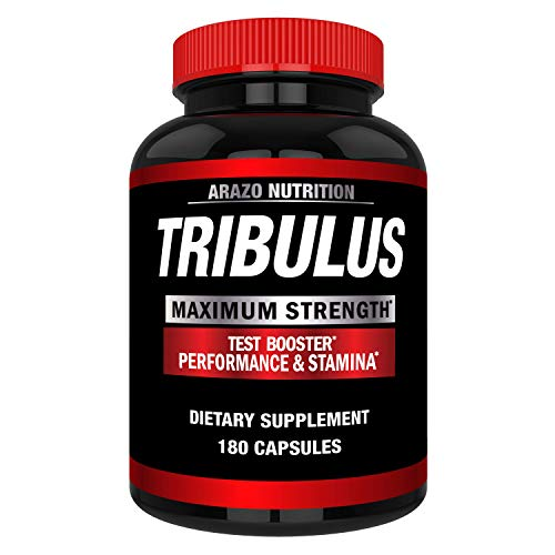 Tribulus Terrestris 1500MG Extract Powder - Testosterone Booster with Estrogen Blocker - Arazo Nutrition USA - 180 Capsules