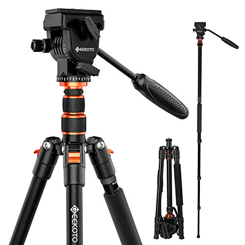 GEEKOTO 77 Inches Video Camera Tripod, Aluminum Tripod with 1/4' Screws Fluid Drag Pan Head, Professional Tripod for DSLR Cameras Video Camcorders Load Capacity Up to 20 Pounds