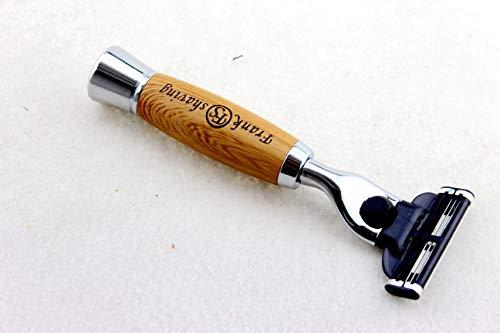 Frank shaving Manual Razor 3 Blade Razor with metal handle,Diamond Wood grain Pattern Handle Shaving Razor