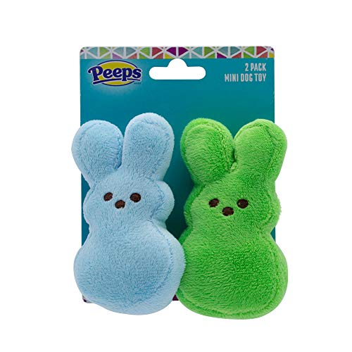 Peeps for Pets Plush Bunny Toys for Dogs, Blue and Green, Mini - 2 Pack   Plush Dog Toys   Fun Way to Keep Your Pet Entertained for Hours   Squeaky Dog Toys for Easter or Everyday Use
