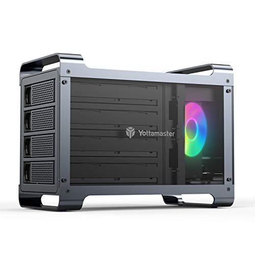 Yottamaster 4 Bay Hard Drive Enclosure,Aluminum Alloy 2.5'& 3.5' SATA HDD/SSD External HDD SSD Storage Enclosure with 80mm RGB Silent Fan,Supports 4X16TB Capacity for PC DIY Experts&Gamers [DF4U3]