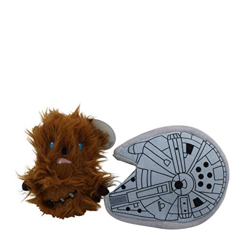 Star Wars for Pets Chewbacca Millennium Falcon Stuffer Dog Toy | Soft Star Wars Sqeaky Dog Toy, Brown, FF11468