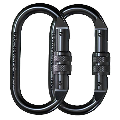 XTEK CLIMBING Carabiner Clip – CE Rated 25 kN 5600 LB – Heavy Duty, Rugged Terrain Approved Locking Carabiner Clips - Industrial Strength Twist Lock Carabiners for Rigging, Ropes, Hammocks, Camping