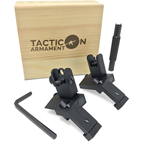 TACTICON 45 Degree Offset Flip Up Iron Sights for Rifle Includes Front Sight Adjustment Tool   Rapid Transition Backup Front and Rear Iron Sight BUIS Set Picatinny Rail and Weaver Rails