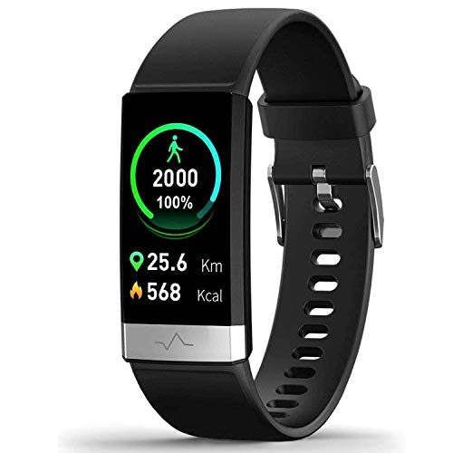 MorePro Heart Rate Monitor Blood Pressure Fitness Activity Tracker with Low O2 Reminder, IP68 Waterproof Smart Watch with HRV Sleep Health Monitor Smartwatch for Android iOS Phones (Black)
