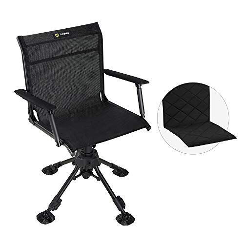 TIDEWE Hunting Chair with Seat Cover, 360 Degree Silent Swivel Blind Folding Chair, 4 Legs Adjustable Height Hunting Seats with Armrest, Portable Comfortable Stable Ground Hunting Chair