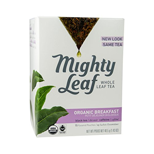 Mighty Leaf Whole Leaf Organic Breakfast Tea, 15 Tea Bags Individual Pyramid-Style Tea Sachets of Organic Caffeinated Black, Delicious Hot or Iced, Sweetened or Plain
