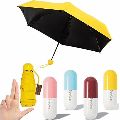Newcom Ultra Lights and Small Mini Umbrella with Cute Capsule Case,5 Folding Compact Pocket Umbrella(Yellow)