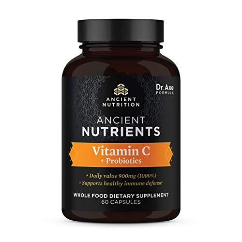 Vitamin C + Probiotics, 900mg, Ancient Nutrients Vitamin C Highly Absorbable Whole Food Dietary Supplement, Formulated by Dr. Josh Axe, Immune System Support, Made Without GMOs, 30 Capsules