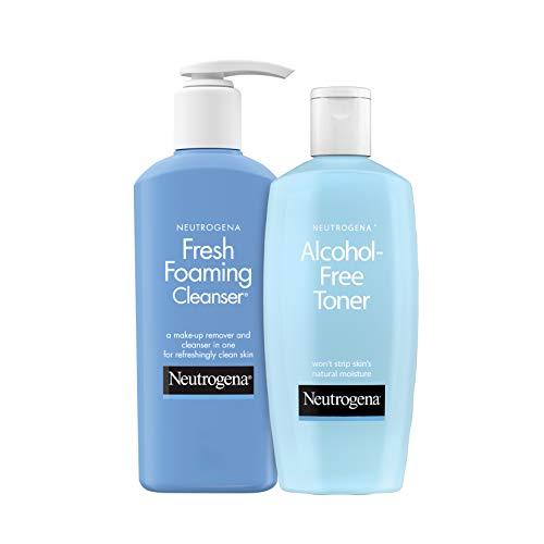Neutrogena Alcohol-Free & Oil-Free Facial Toner, Hypoallergenic, 8.5 oz & Neutrogena Fresh Foaming Facial Cleanser & Makeup Remover Face Wash, Non-Comedogenic, 9.6 oz